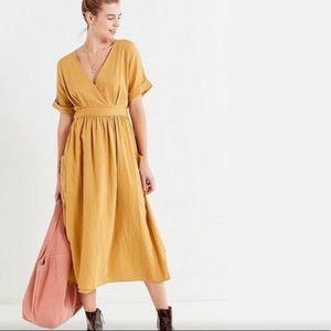 Urban Outfitters   linen mustard wrap dress